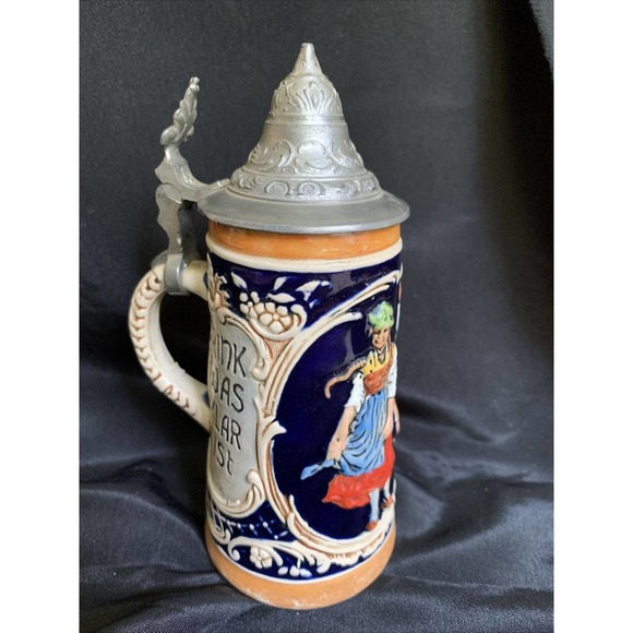 """Small German Beer Stein With Lid 6"""""""